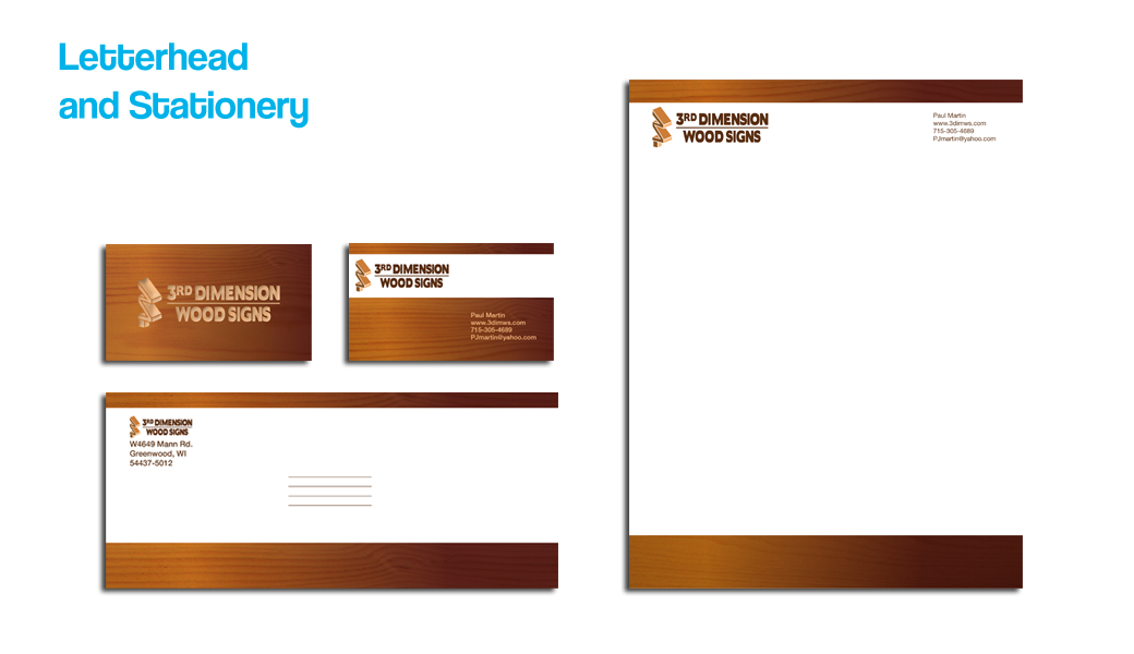 3rd dimension wood signs stationery